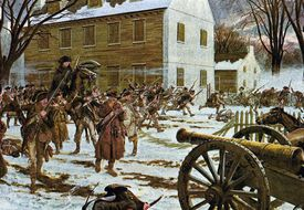 American troops attacking at the Battle of Trenton