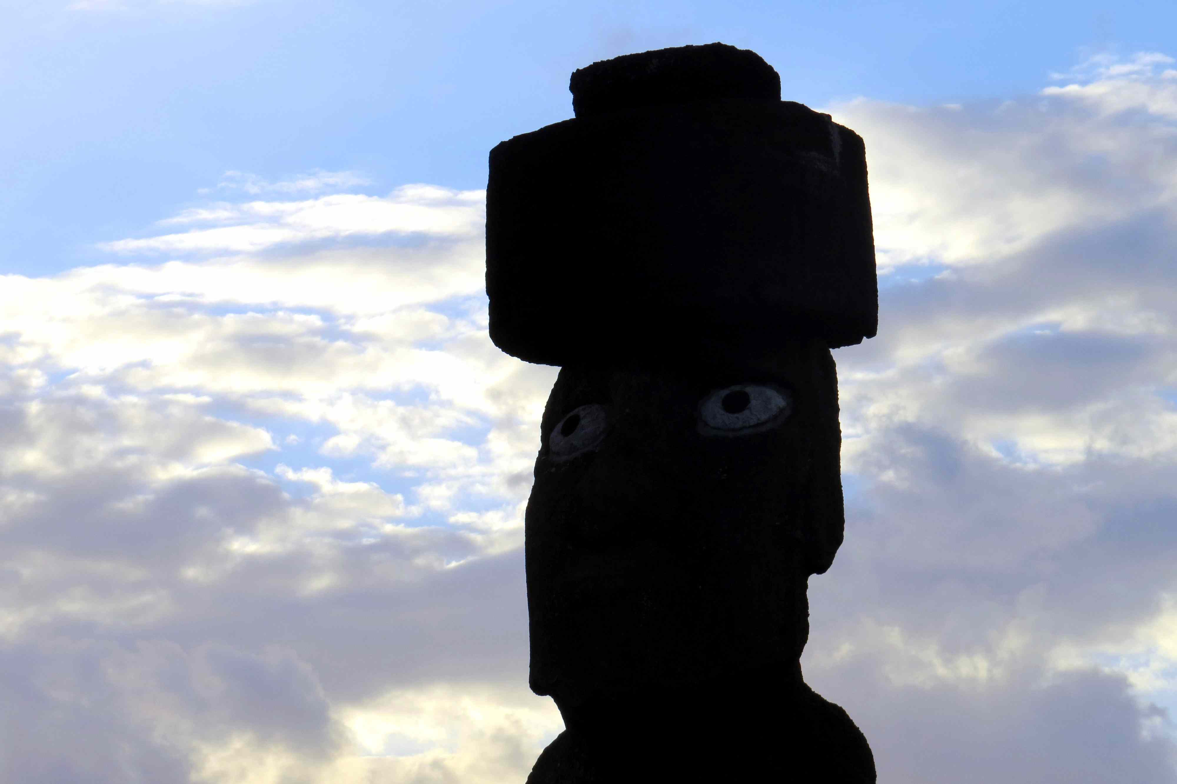 One of the few moai with intact eyes