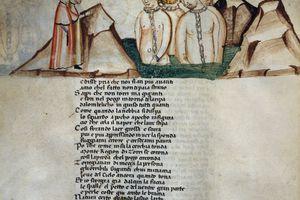 Divine Comedy by Dante Alighieri (1265-1321), illuminated page from the Dante Estense manuscript, 1380-1390
