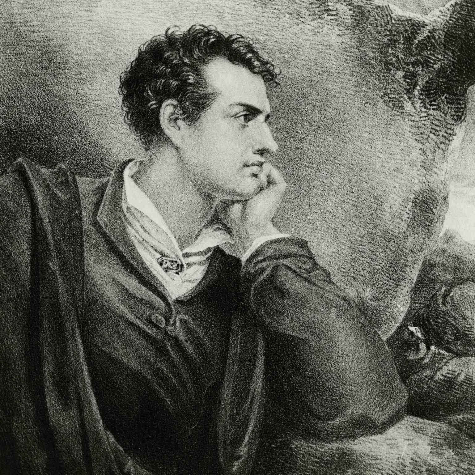 Portrait of Lord Byron, lithograph by Josef Eduard Teltscher c. 1825