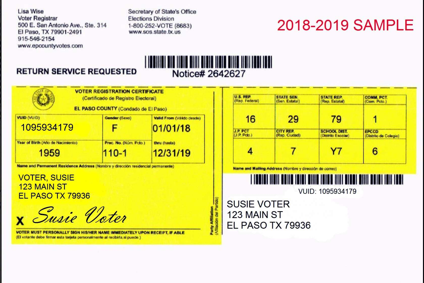 A sample 2018 voter registration card issued by the local government in El Paso, TX