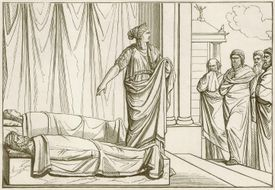 Clytemnestra in front of the corpse of Agamemnon and Cassandra