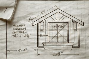 Architectural drawing of a future window with dimensions and focal point, 3 panes each side, side windows on each side, window box centered below, three boards arranged orderly above