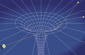 According to General Relativity, mass causes curvature in space-time. One great problem in physics is combining general relativity with quantum theory.