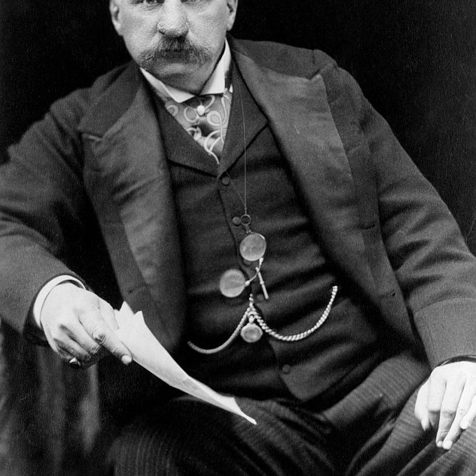 John Pierpont (J.P.) Morgan (1837-1913), the American financier. He was responsible for much industrial growth in the United States, including the formation of the U.S. Steel Corporation and the reorganization of major railroads. In his later years he collected art and books, and made major donations to museums and libraries