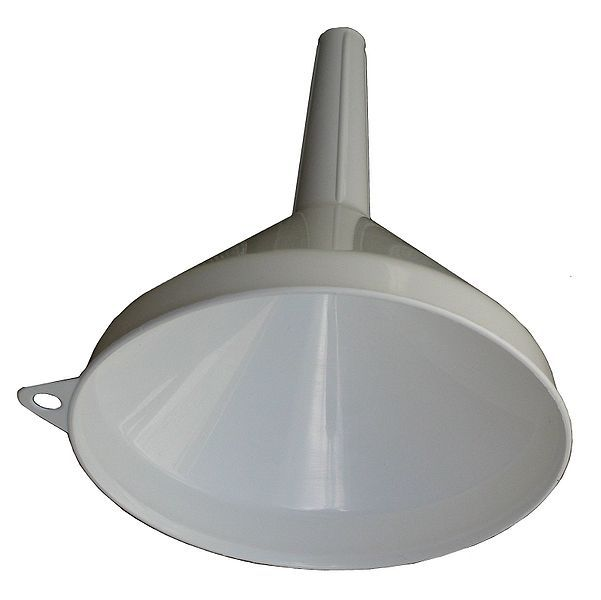 A funnel is a conical piece of glassware that terminates in a narrow tube.