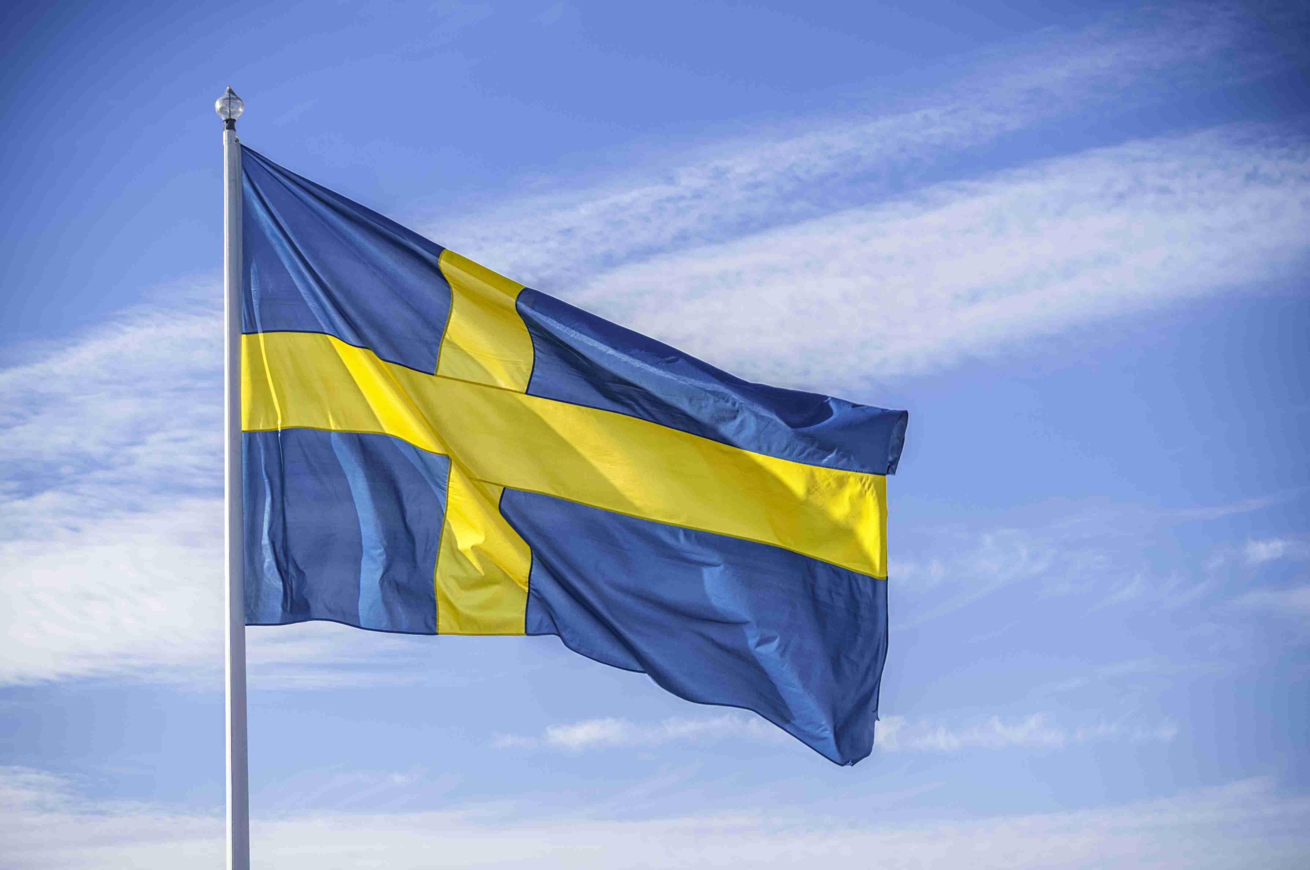 Swedish nation flag in sunlight