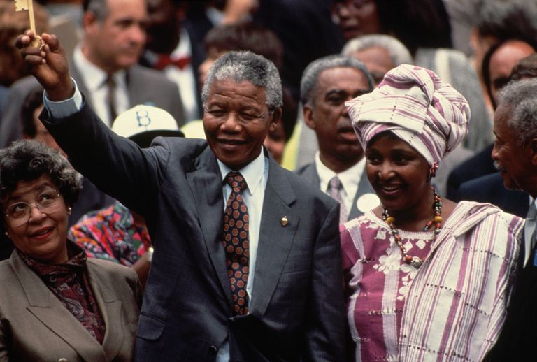 Nelson and Winnie Mandela Holding Key