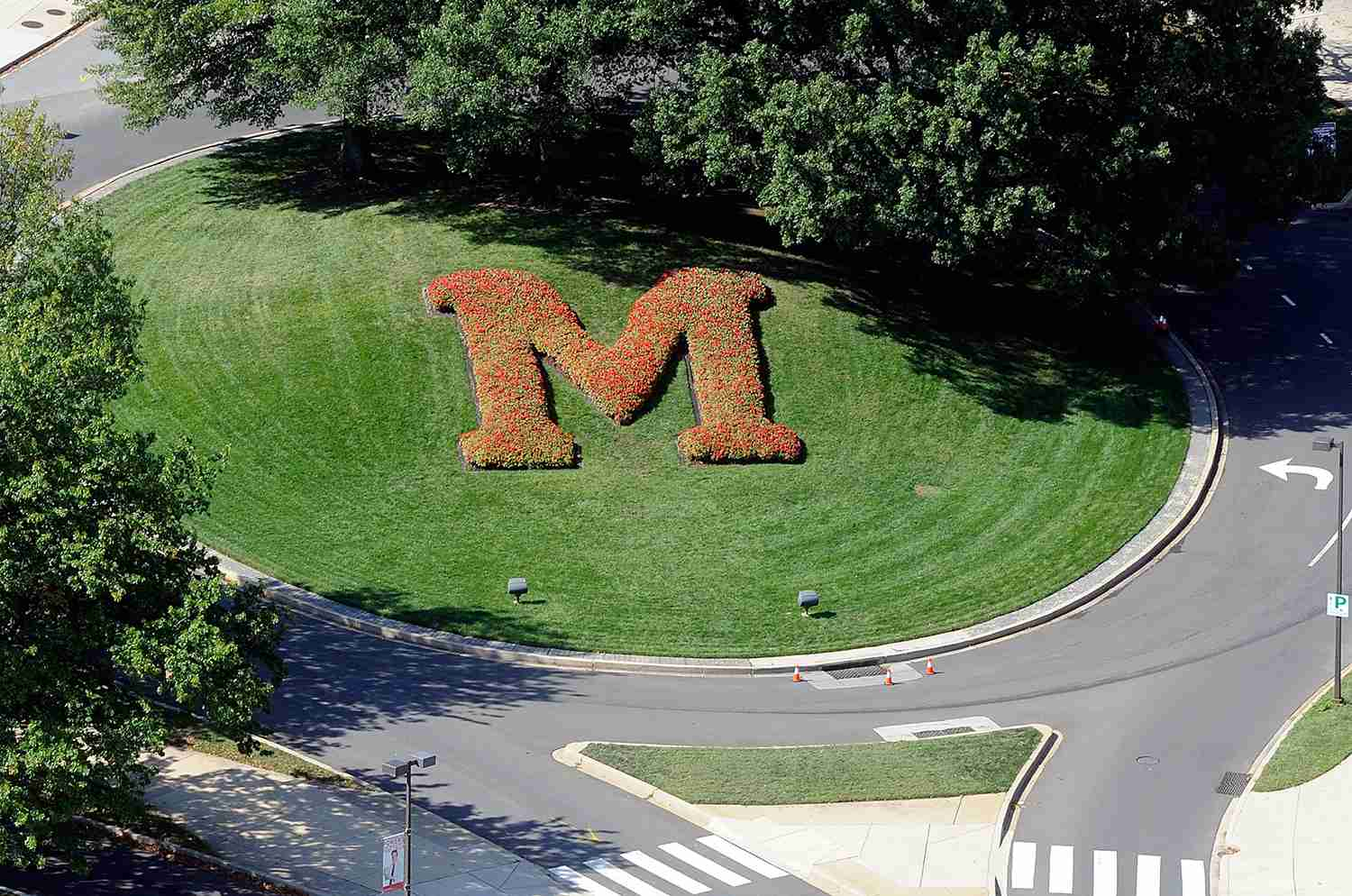 An aerial view of the University of Maryland campus on October 4, 2014 in College Park, Maryland.