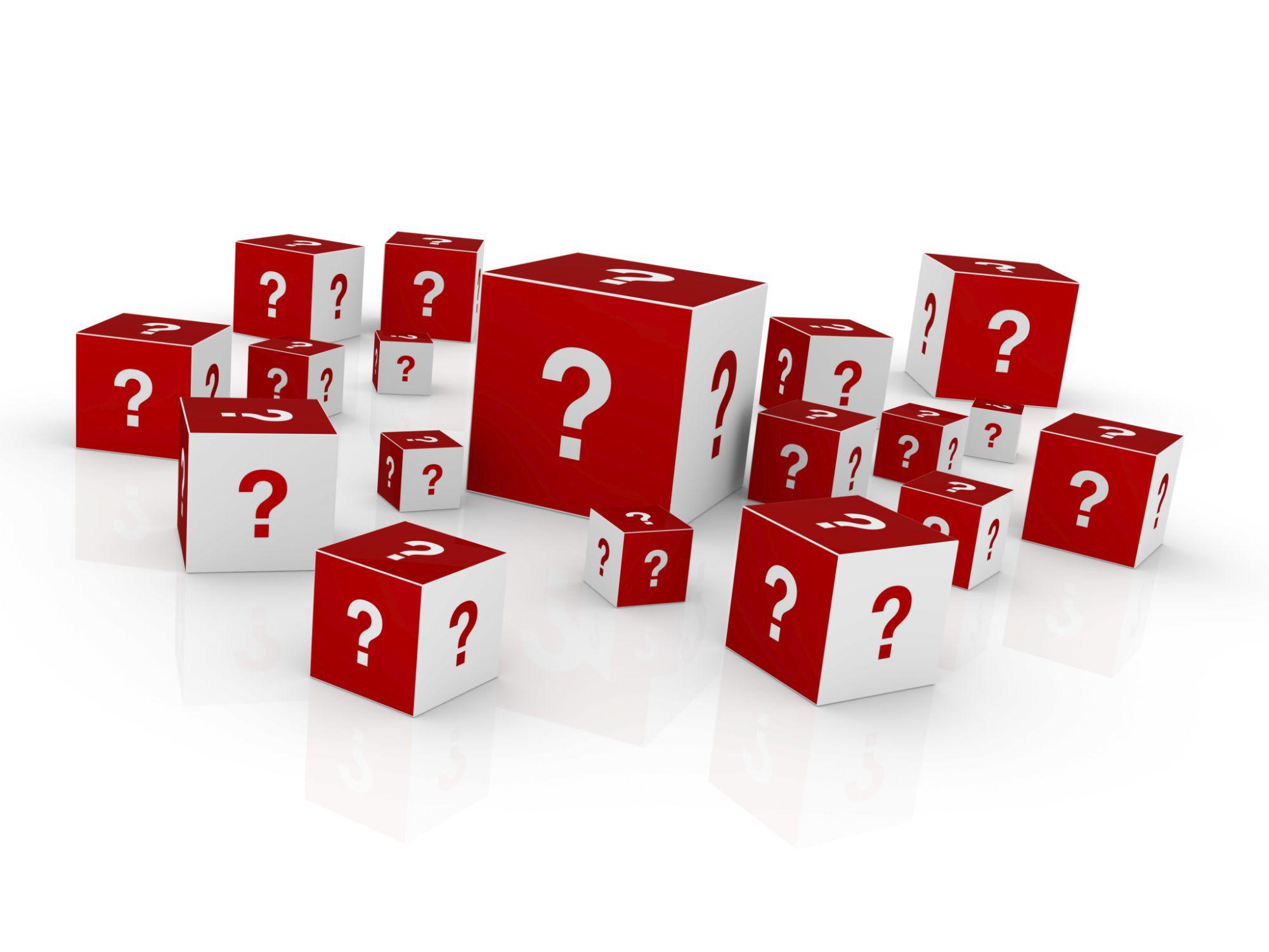 Cubos con símbolos de interrogación