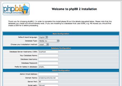 Captura de pantalla de la instalación de phpBB