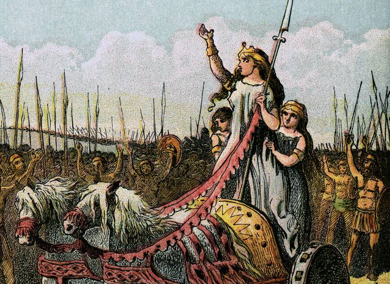 """Boadicea and Her Army"" 1850 Engraving"