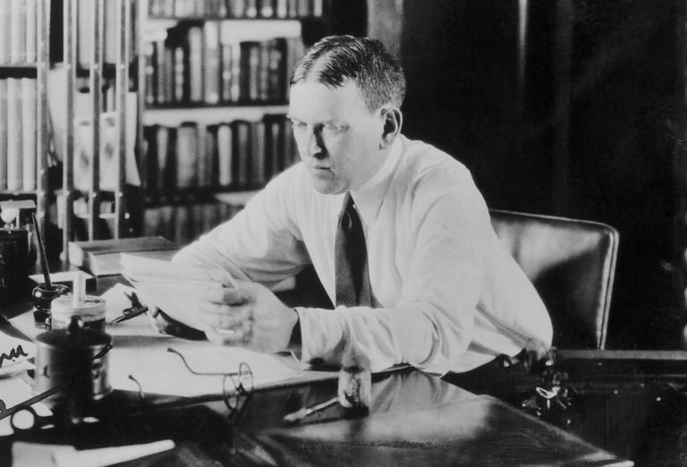 Photograph of H.L. Mencken at his desk