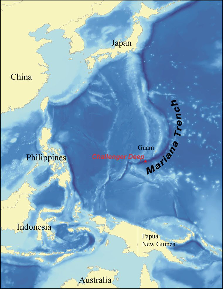 Map showing the deepest point of the ocean