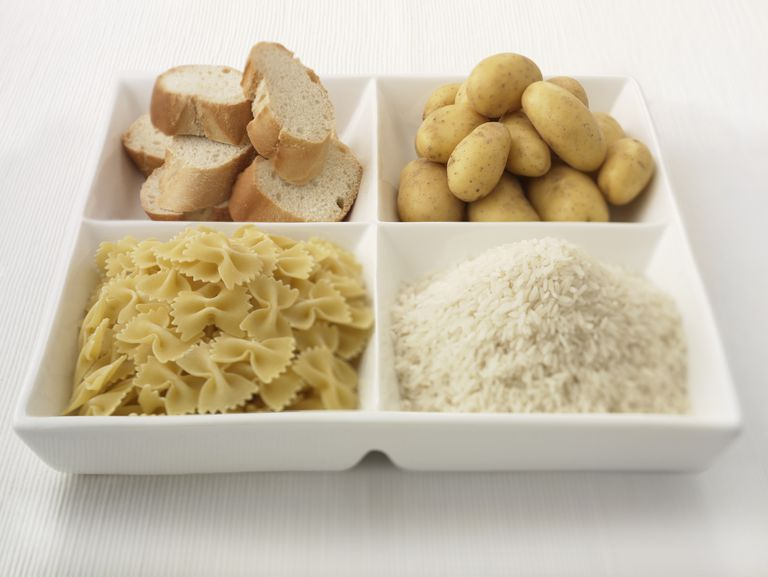 A sectioned plate of carbohydrates.