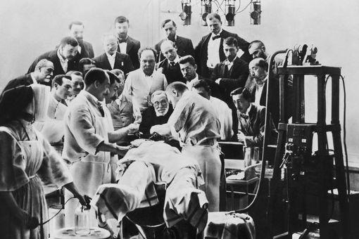 Pathologist Rudolf Virchow Observing Operation