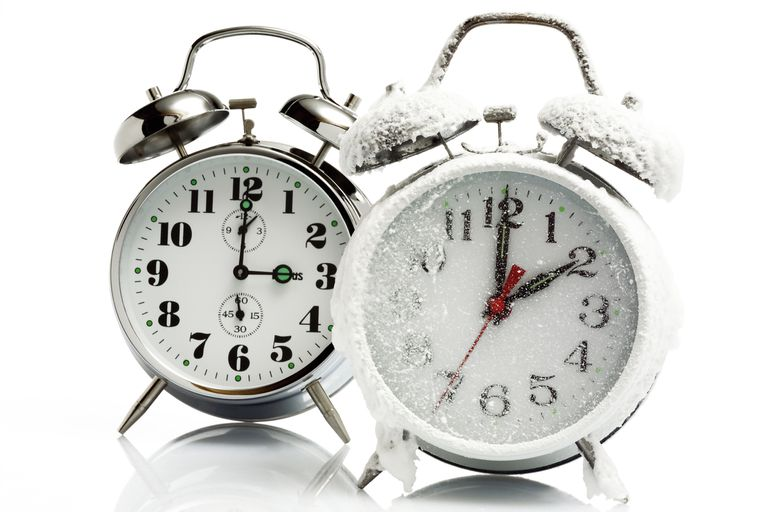 Two clocks, one is covered in frost