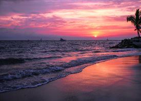 Tuvalu beach at sunset