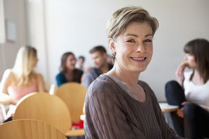 middle aged woman in classroom