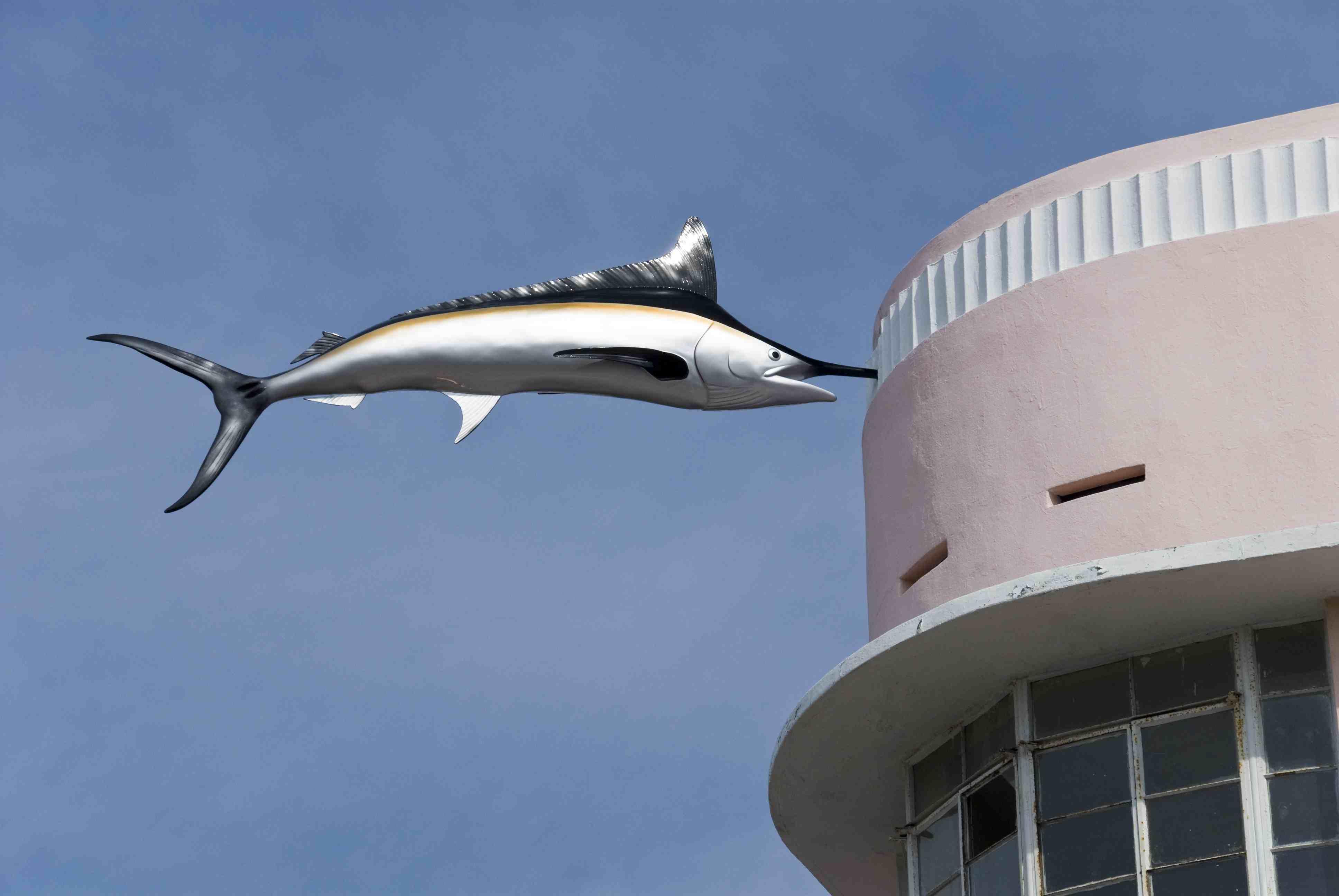 Swordfish stuck in the Art Deco facade of building