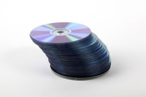 A stack of CDs against a white background.
