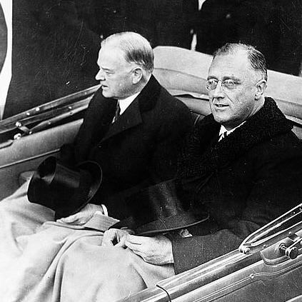Herbert Hoover and Franklin Roosevelt Riding to the Capitol for the Roosevelt's Inauguration.