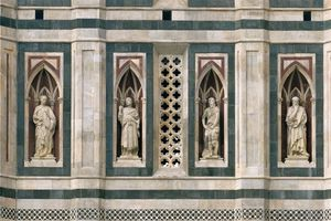 Italy, Tuscany, Florence, Giotto's Campanile. Detail. Overview of the four prophets. From the left the Beardless Prophet, the Bearded Prophet, Abraham and Isaac and the Thinker.