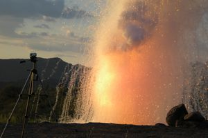 An explosion caused by adding water to sodium metal