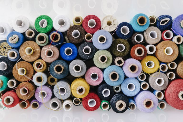 Multicolored cotton reels