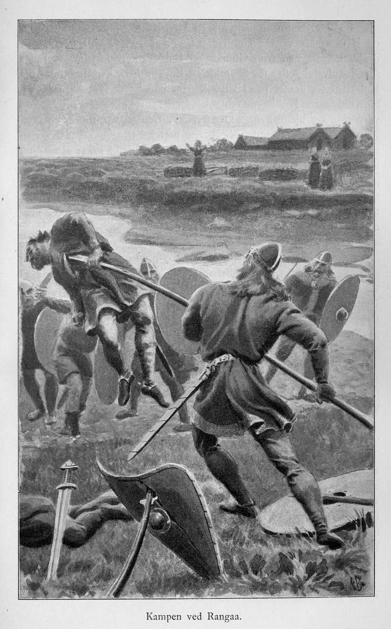 Gunnar Fights His Ambushers at Ranga - Illustration from the 19th Century Norwegian Translation