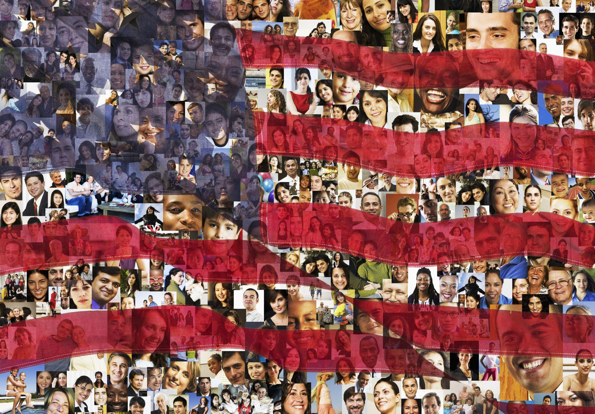 Bandera de USA con caras de todos los grupos étnicos