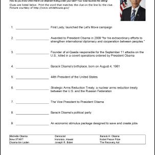 Barack Obama Wordsearch, Worksheets, Coloring Pages
