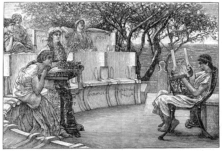 Sappho and her companions listening as the poet Alcaeus plays a kithara