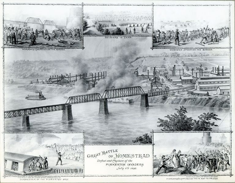 Print depicting strike battle at Homestead Steel Mill