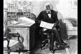 Frederick Douglass editing newspaper at his desk, 1870s