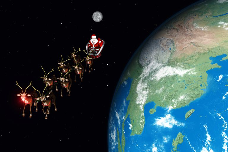 Rudolph leading Santa's sleigh toward Japan