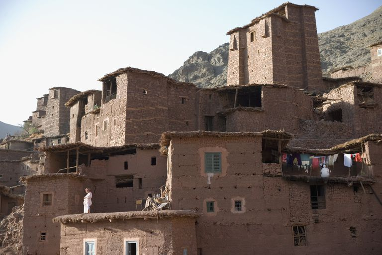 Traditional Berber Village (Ksar) in High Atlas Mountains