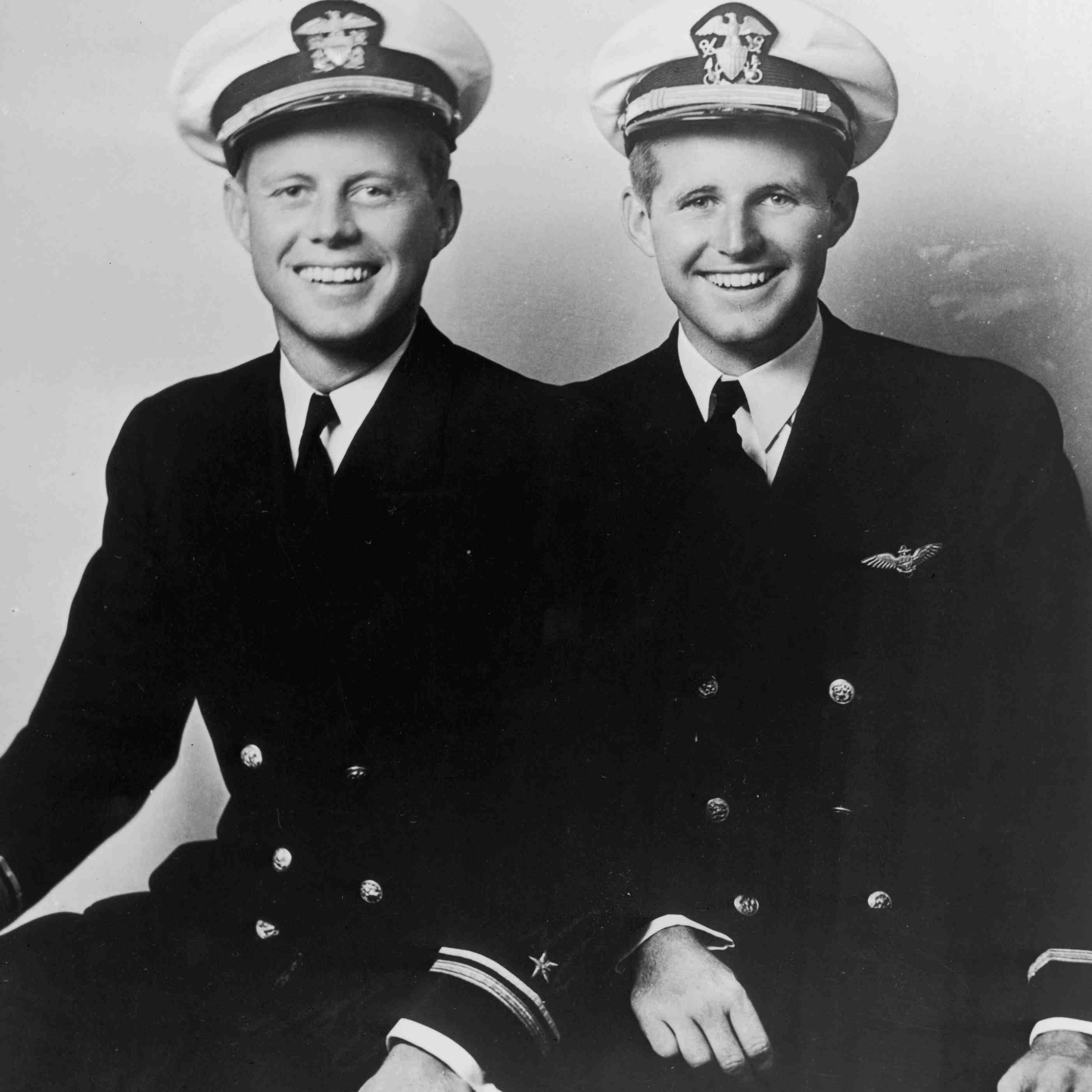John F. Kennedy sitting next to his brother Joseph Kennedy Jr