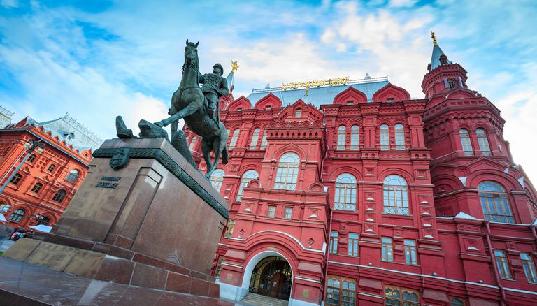 Equestrial statue of Marshal Georgy Zhukov in front of the Kremlin