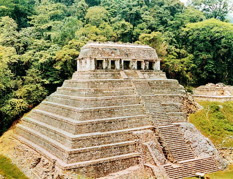 Pyramid and Temple-of-the-Inscriptions, Palenque, Mexico, 7th century.