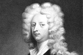 Joseph Addison portrait, black and white drawing.