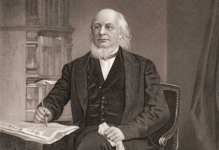 Engraved portrait of editor Horace Greeley