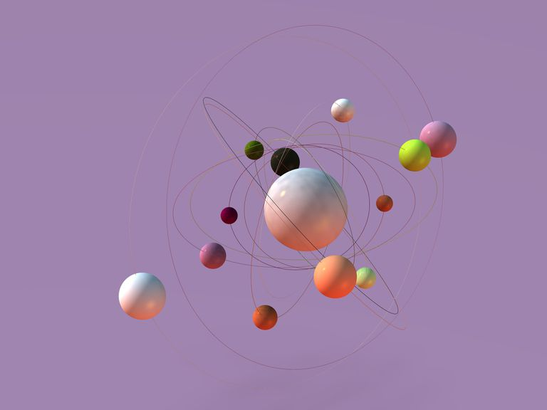 graphic rendering of atoms orbiting