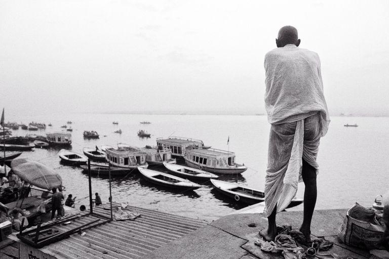 India - Varanasi - A Brahmin contemplating the holy Ganga