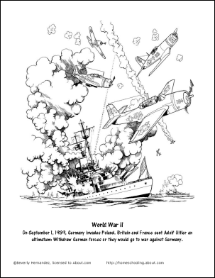 World War Ii Printable Worksheets And Coloring Pages - Ww2-coloring-pages