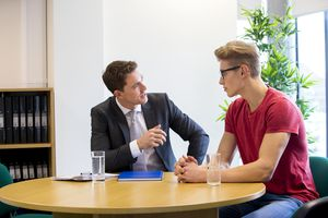 A student at an interview