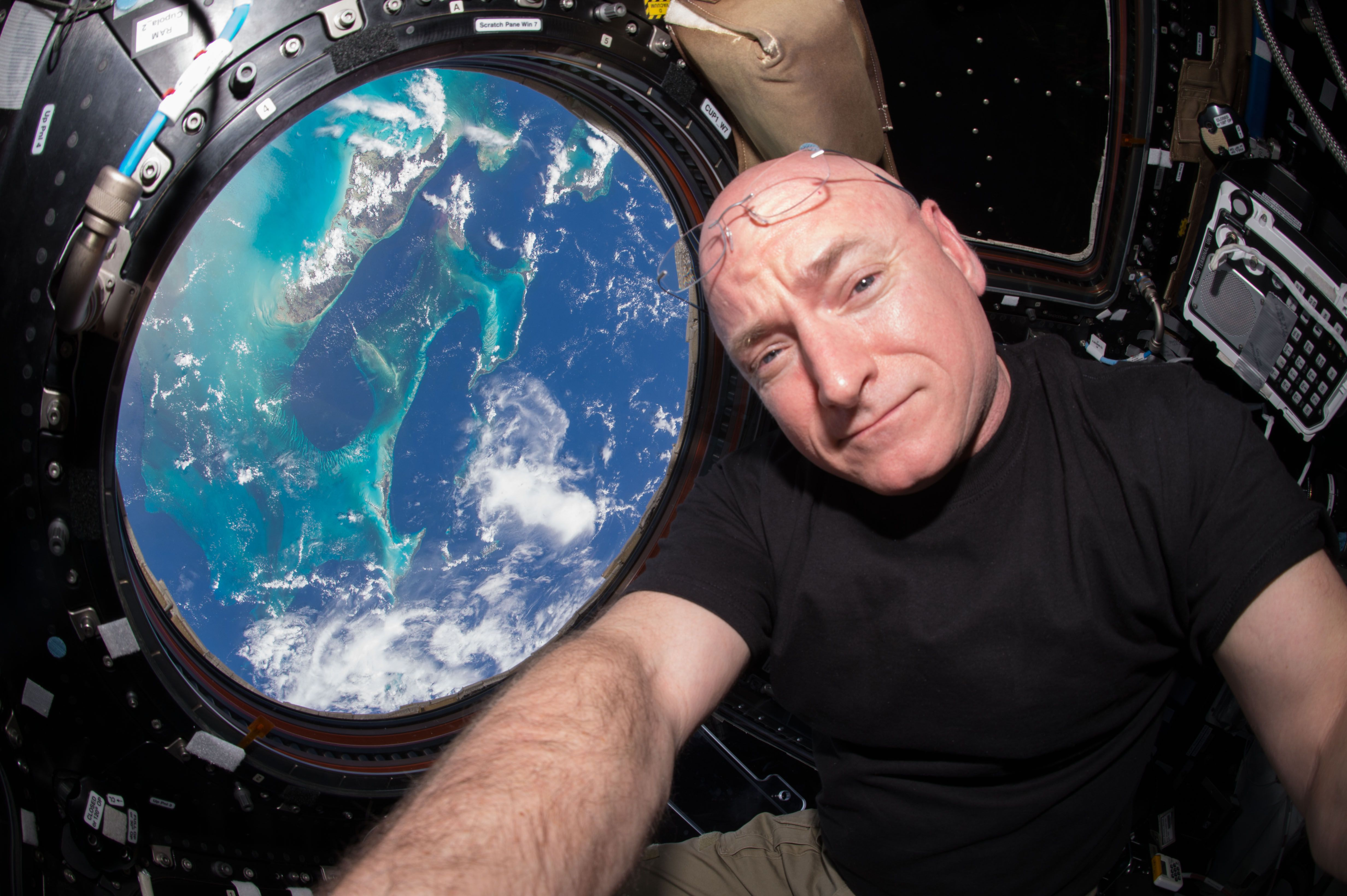 Scott Kelly in a selfie in the cupola of the ISS.