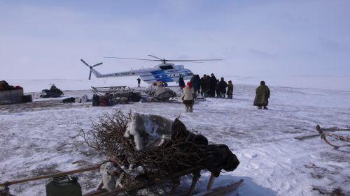 Helicopter Lands at Nenets Encampment