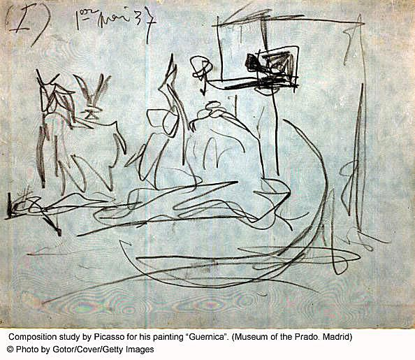 Picasso Sketch for His Painting Guernica
