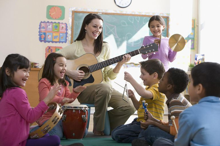 Teacher playing guitar for students in class